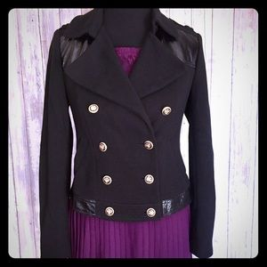 Inc Black double button military jacket women's XS